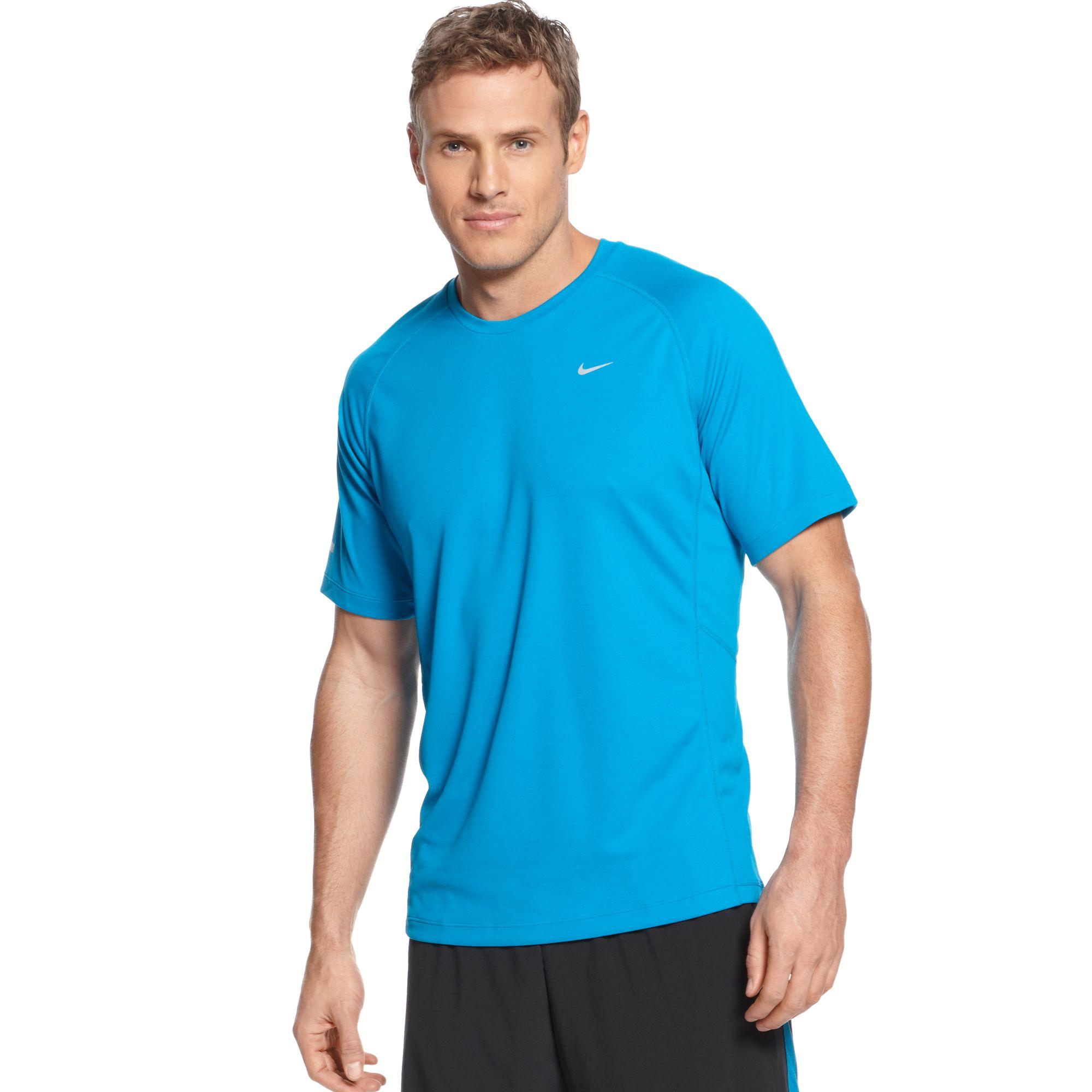 Nike Miler Short Sleeve Uv Running Tshirt In Blue For Men