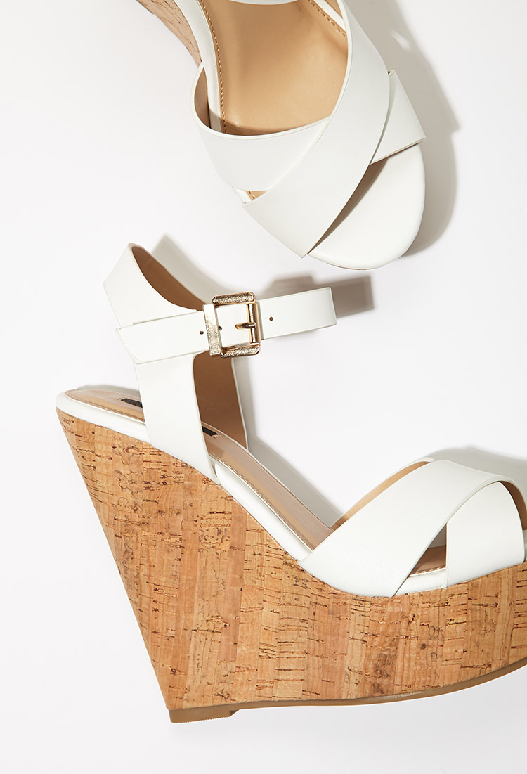 Lyst Forever 21 Strappy Cork Sole Platform Wedges In White