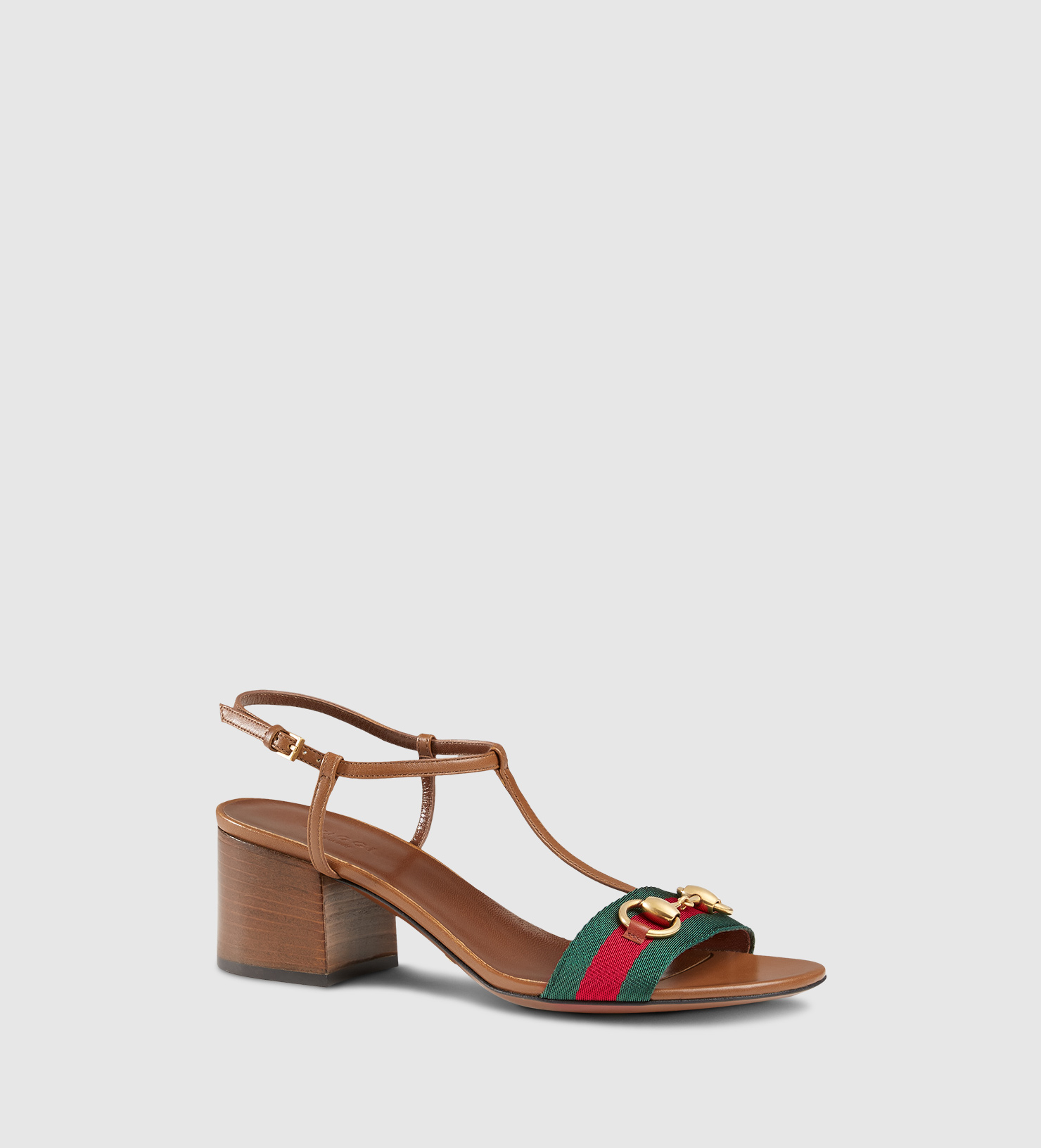 21220d6f49f Lyst - Gucci Leather T-strap Mid-heel Sandal With Web in Brown