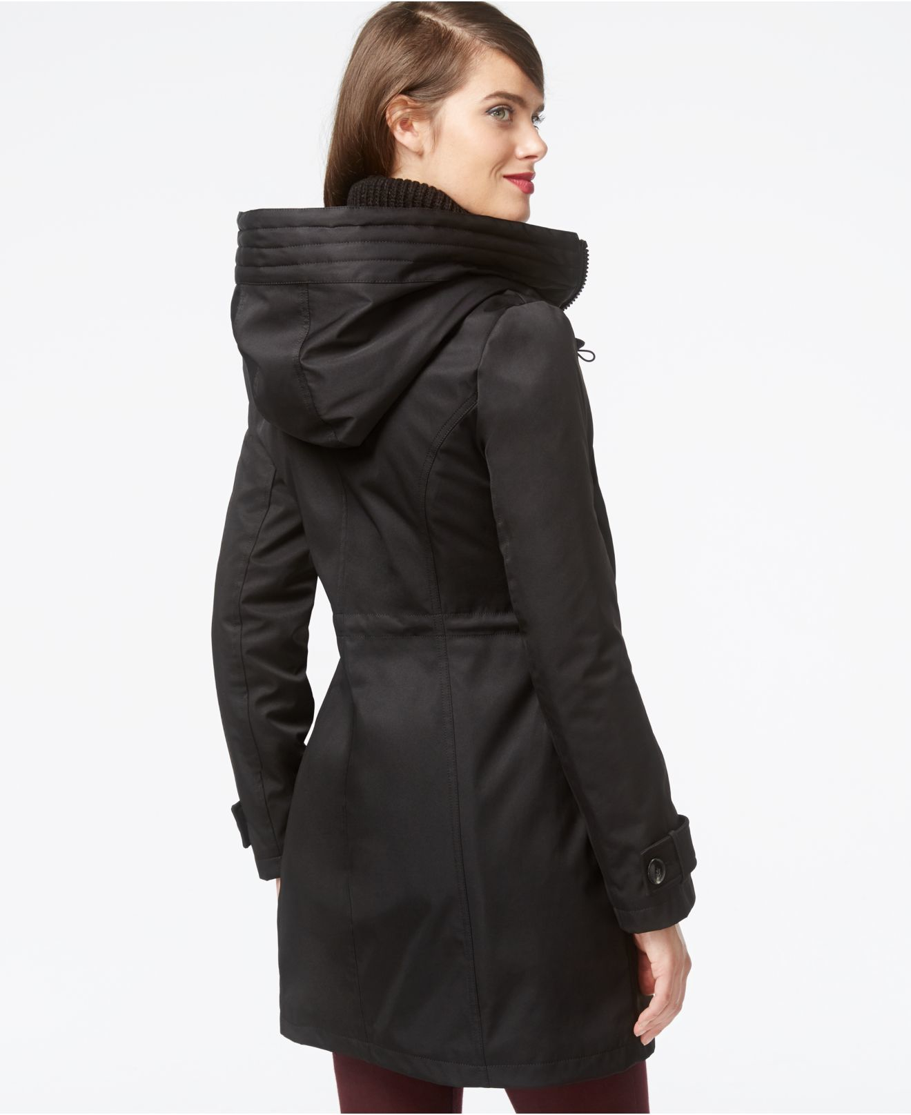 Kensie Quilted Parka Jacket in Black | Lyst
