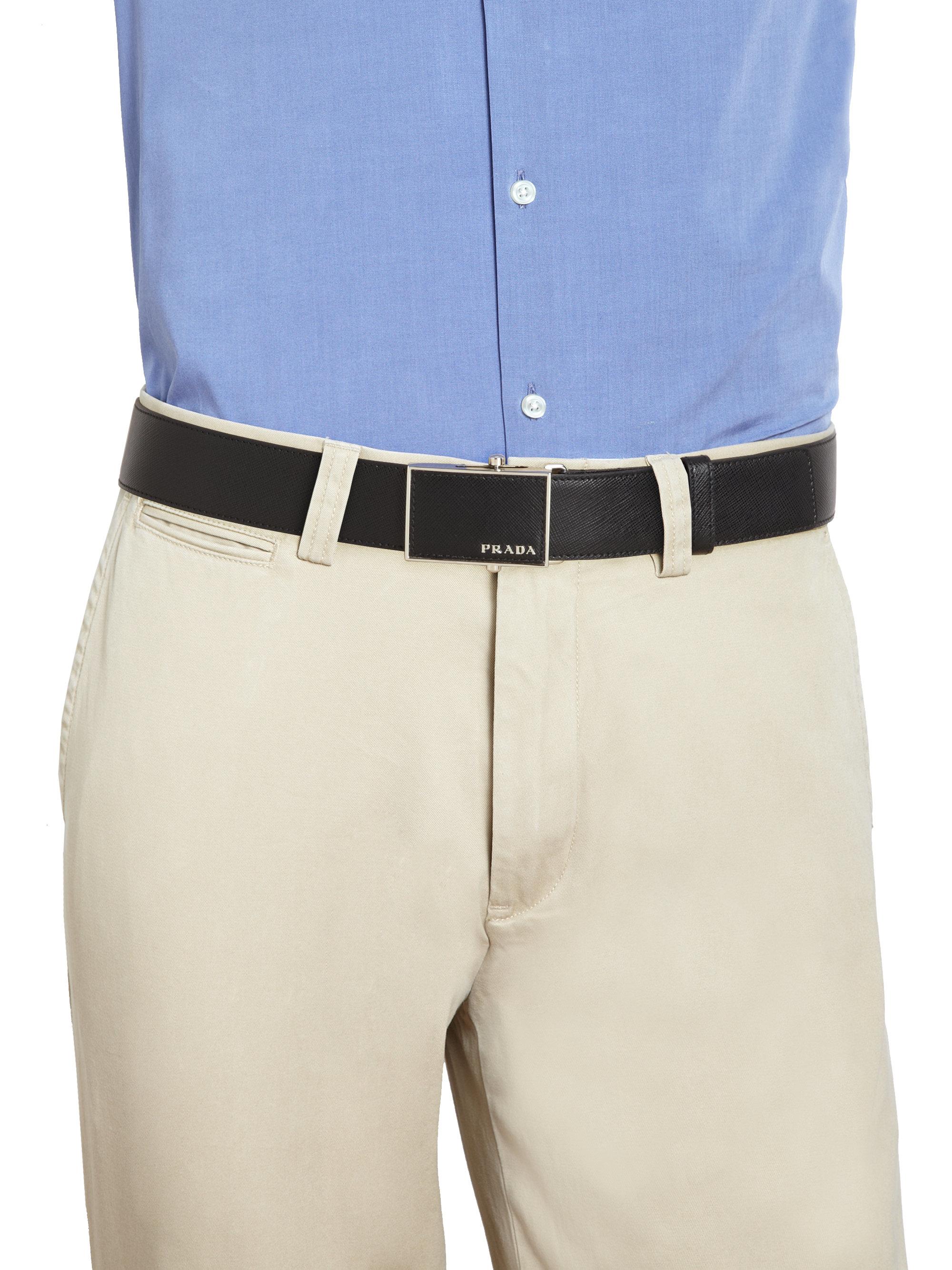 ... reduced lyst prada saffiano leather plaque belt in black for men 66b3b  e1b69 3526e0192eeb3