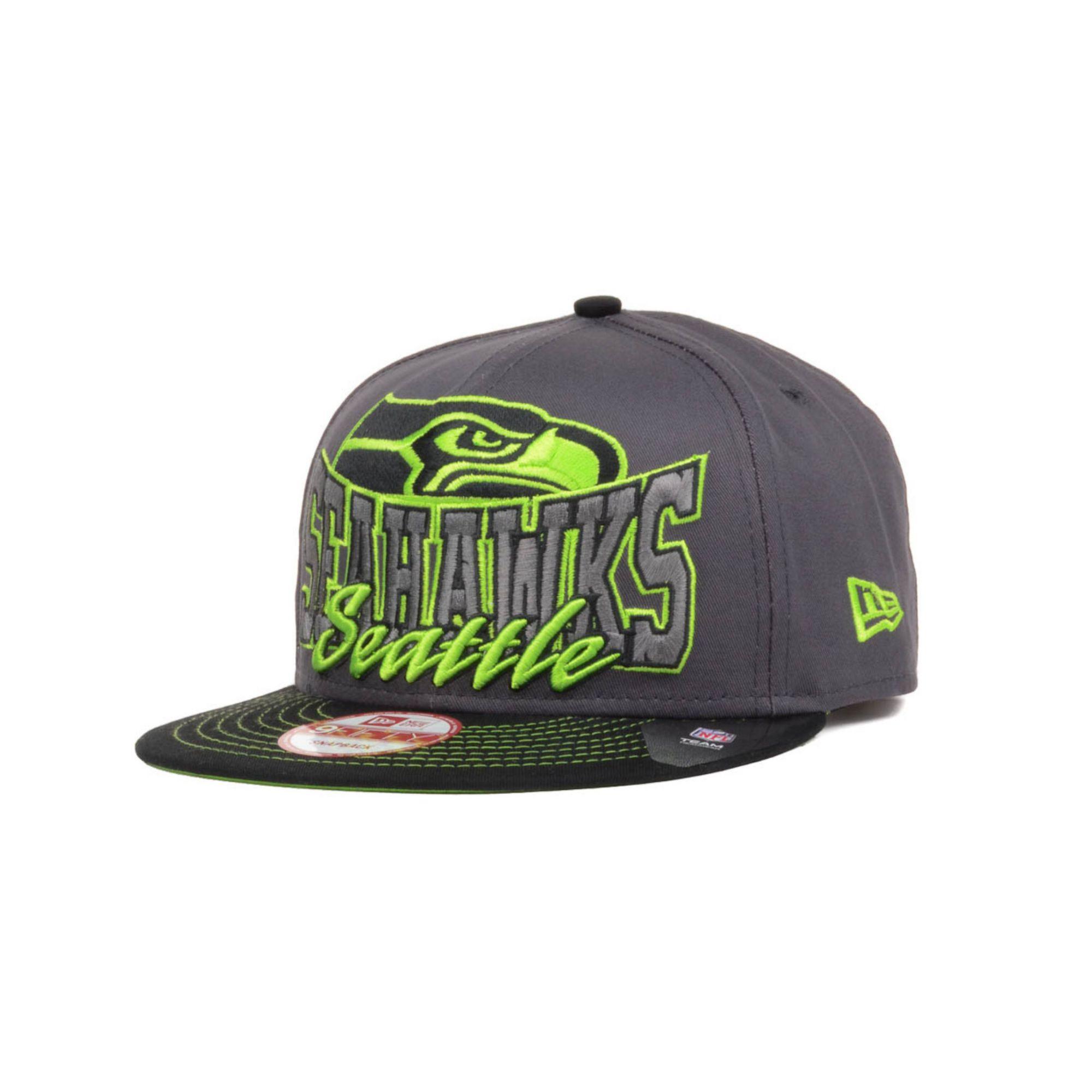 Men's Seattle Seahawks New Era Green Flip Up Team Redux 9FIFTY Snapback Adjustable Hat