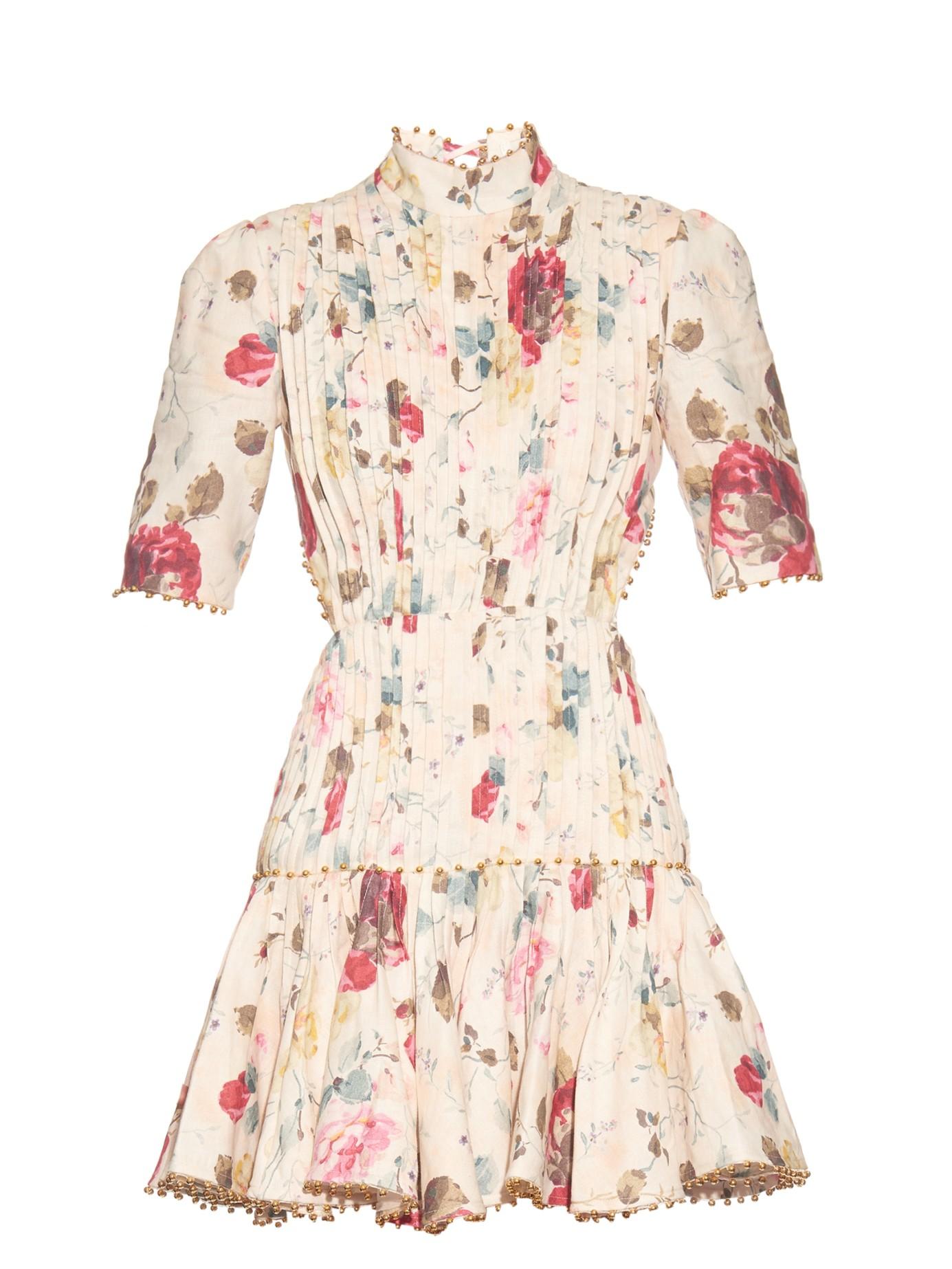 Zimmermann Mischief Floral Print Pleated Linen Dress In