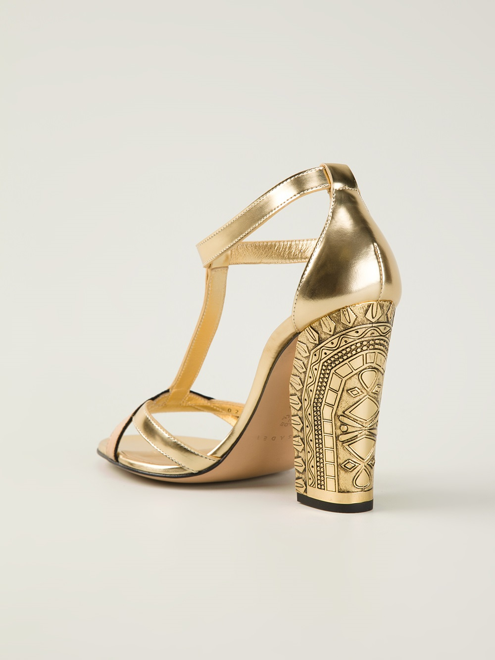 Casadei Chunky Heel Sandals in Metallic | Lyst