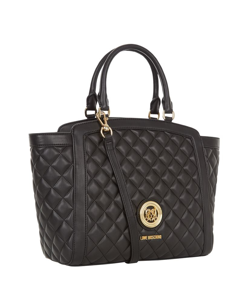 love moschino trapeze quilted shopper bag in black lyst. Black Bedroom Furniture Sets. Home Design Ideas