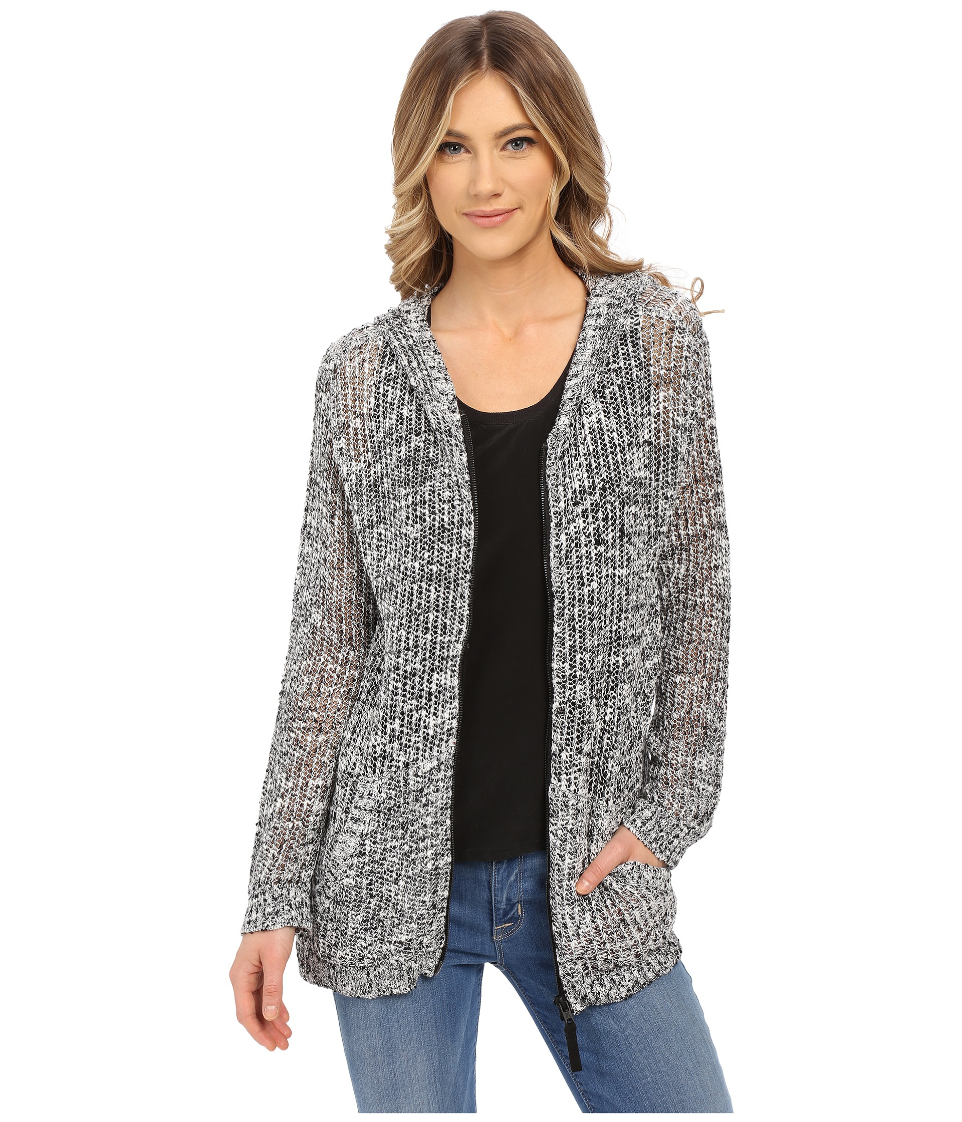 Hurley Laslo Hooded Cardigan in Black | Lyst