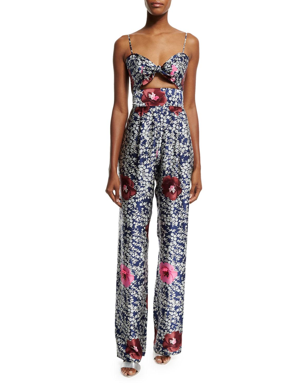 d8dd378ff56e Lyst - Johanna Ortiz Floral-print Silk Tie-front Jumpsuit