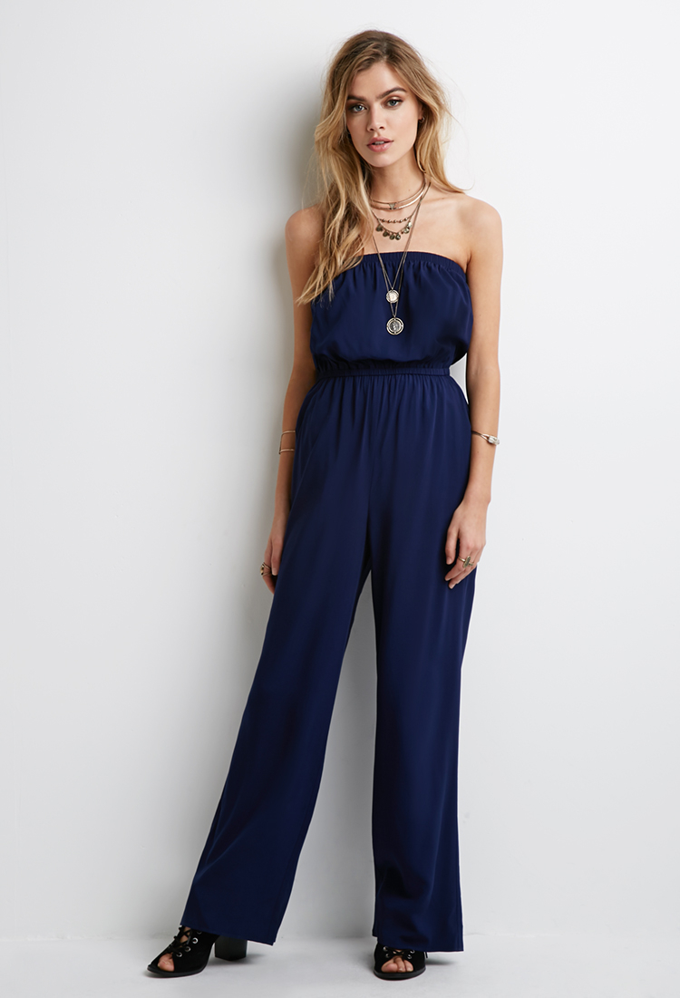 a096e4fb0178 Lyst - Forever 21 Strapless Jumpsuit in Blue