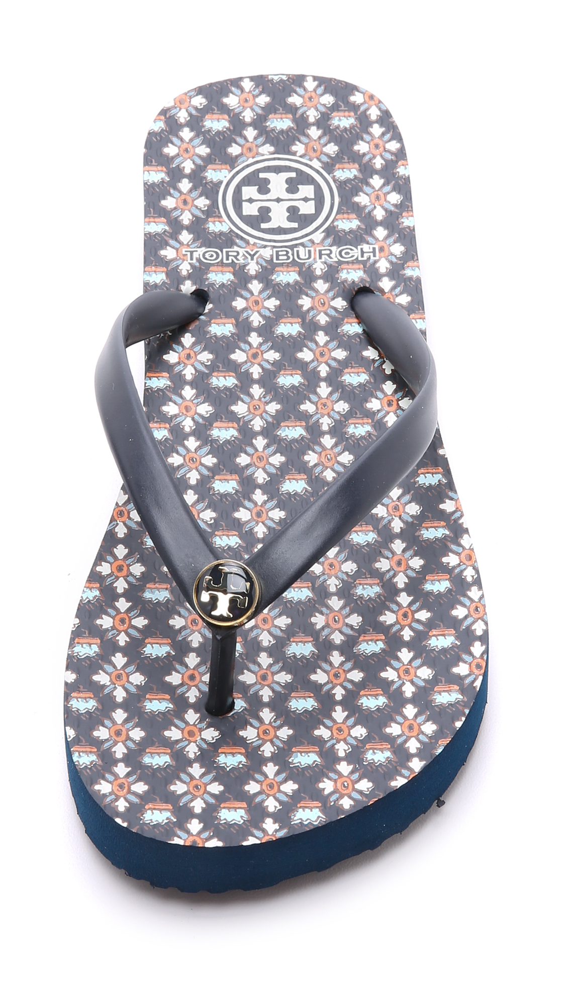 4516218a6876 Lyst - Tory Burch Thin Flip Flops - Tory Navy Brent in Blue