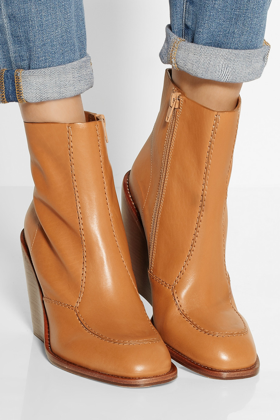 see by chlo leather wedge ankle boots in brown lyst. Black Bedroom Furniture Sets. Home Design Ideas
