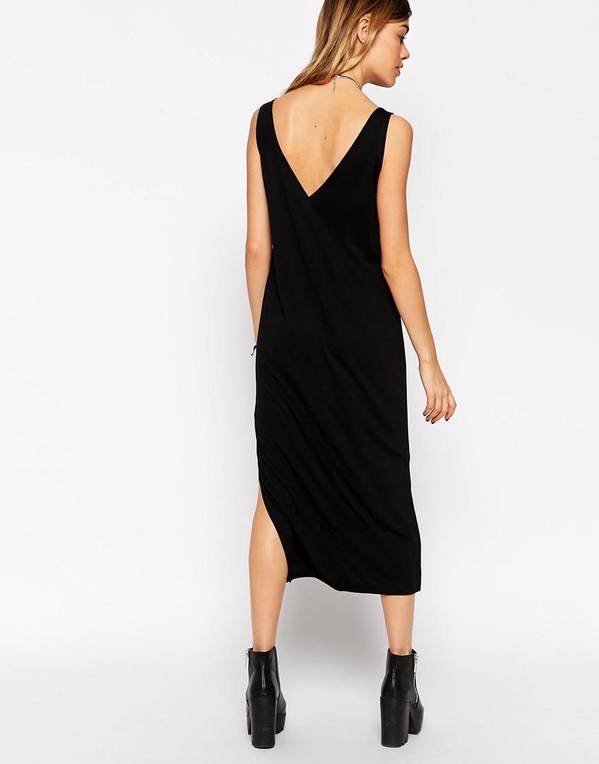 13b5caa44bc9 Lyst - ASOS Vest Midi Dress With Side Splits in Black