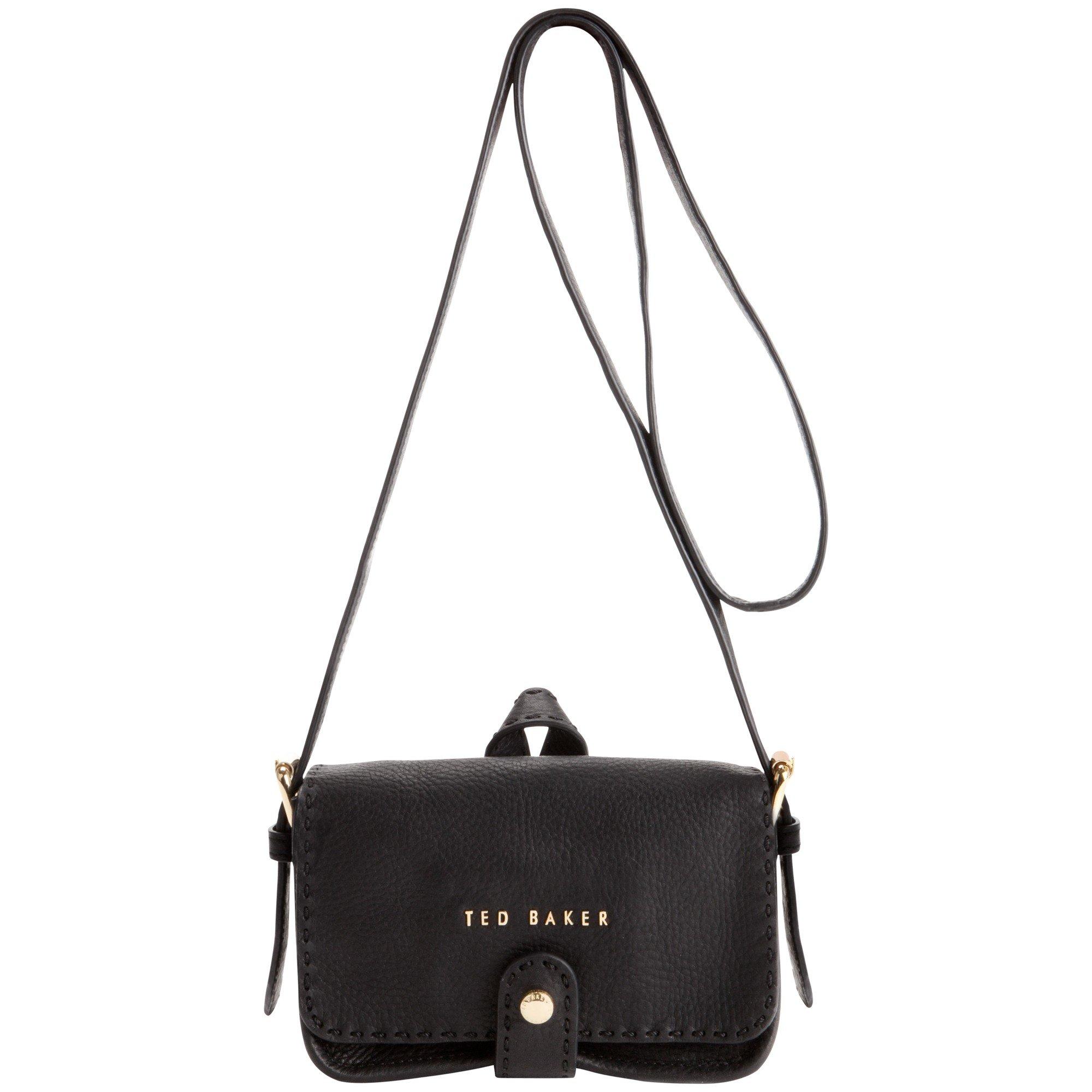 2694da935412 Ted Baker Minimar Stab Stitch Leather Cross Body Bag in Black - Lyst