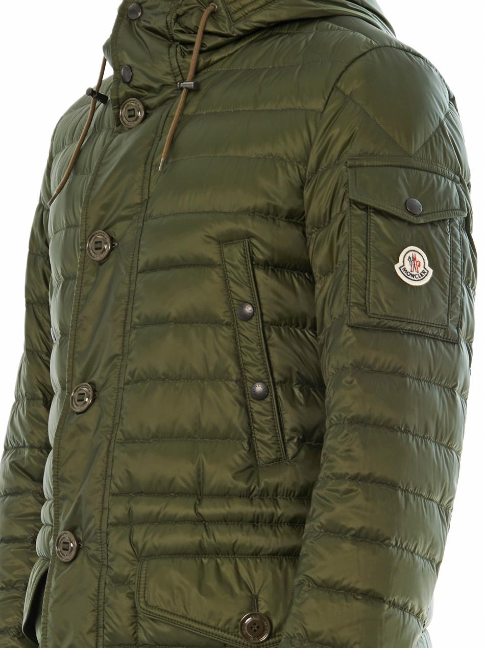 moncler benjamin long down jacket in green for men lyst. Black Bedroom Furniture Sets. Home Design Ideas