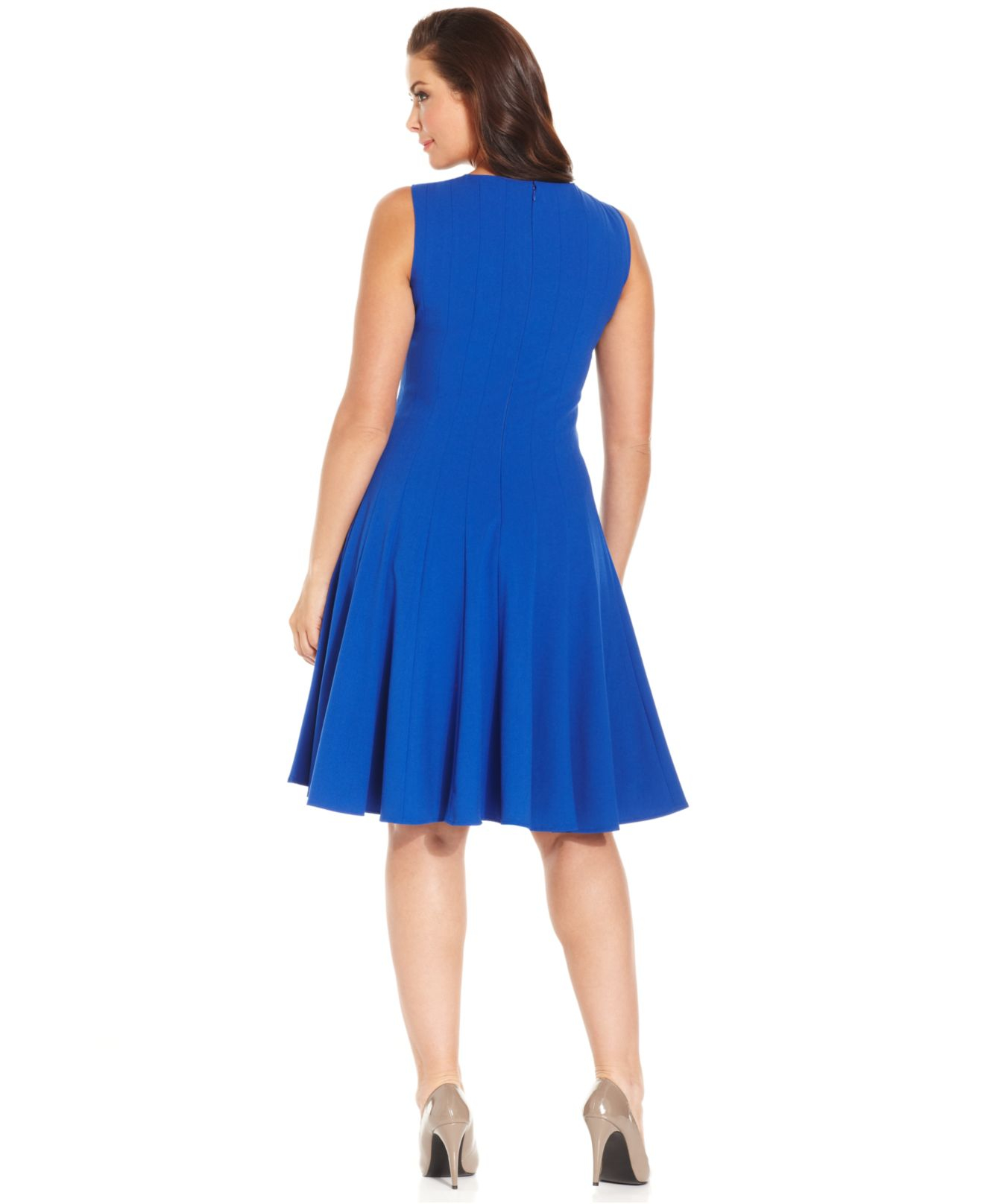 01309fc1441bd7 Lyst - Calvin Klein Plus Size Pleated A-line Dress in Blue