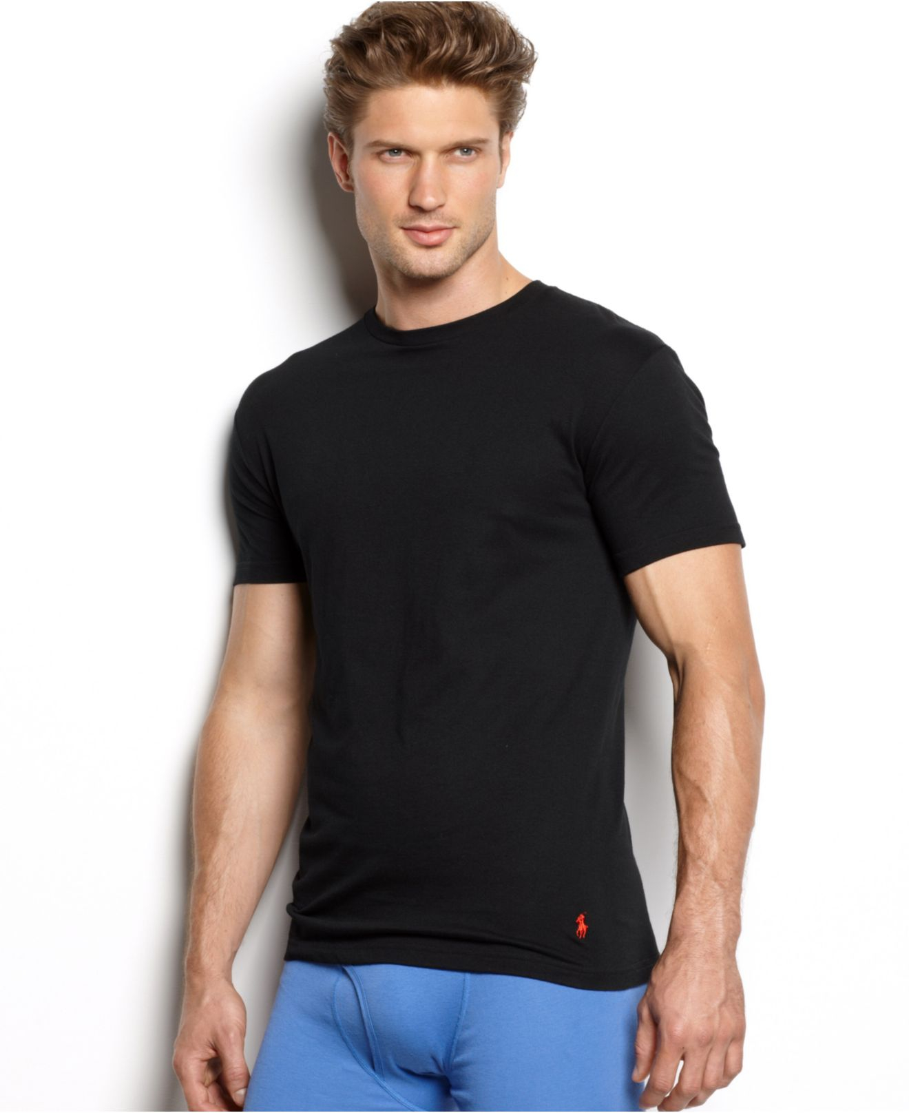 polo ralph lauren men 39 s underwear classic cotton crew t shirts 3 pack in multicolor for men lyst. Black Bedroom Furniture Sets. Home Design Ideas