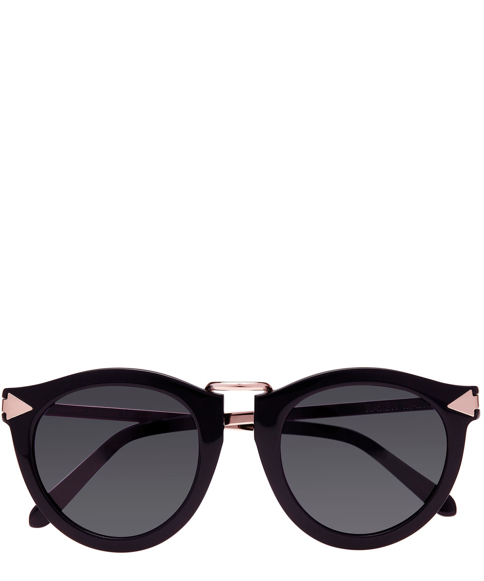 Harvest Round-frame Acetate And Silver-tone Sunglasses - Black Karen Walker veXNsMONQ
