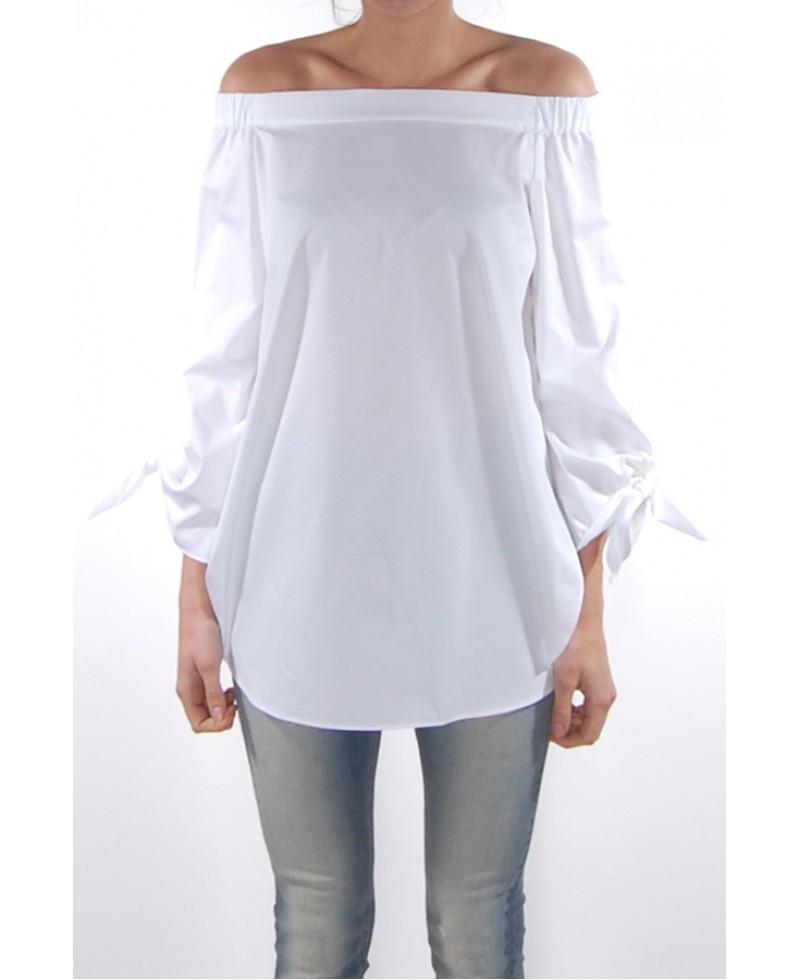 5c4a75b54ddbd Tibi Satin Poplin Off Shoulder Tunic in White - Lyst