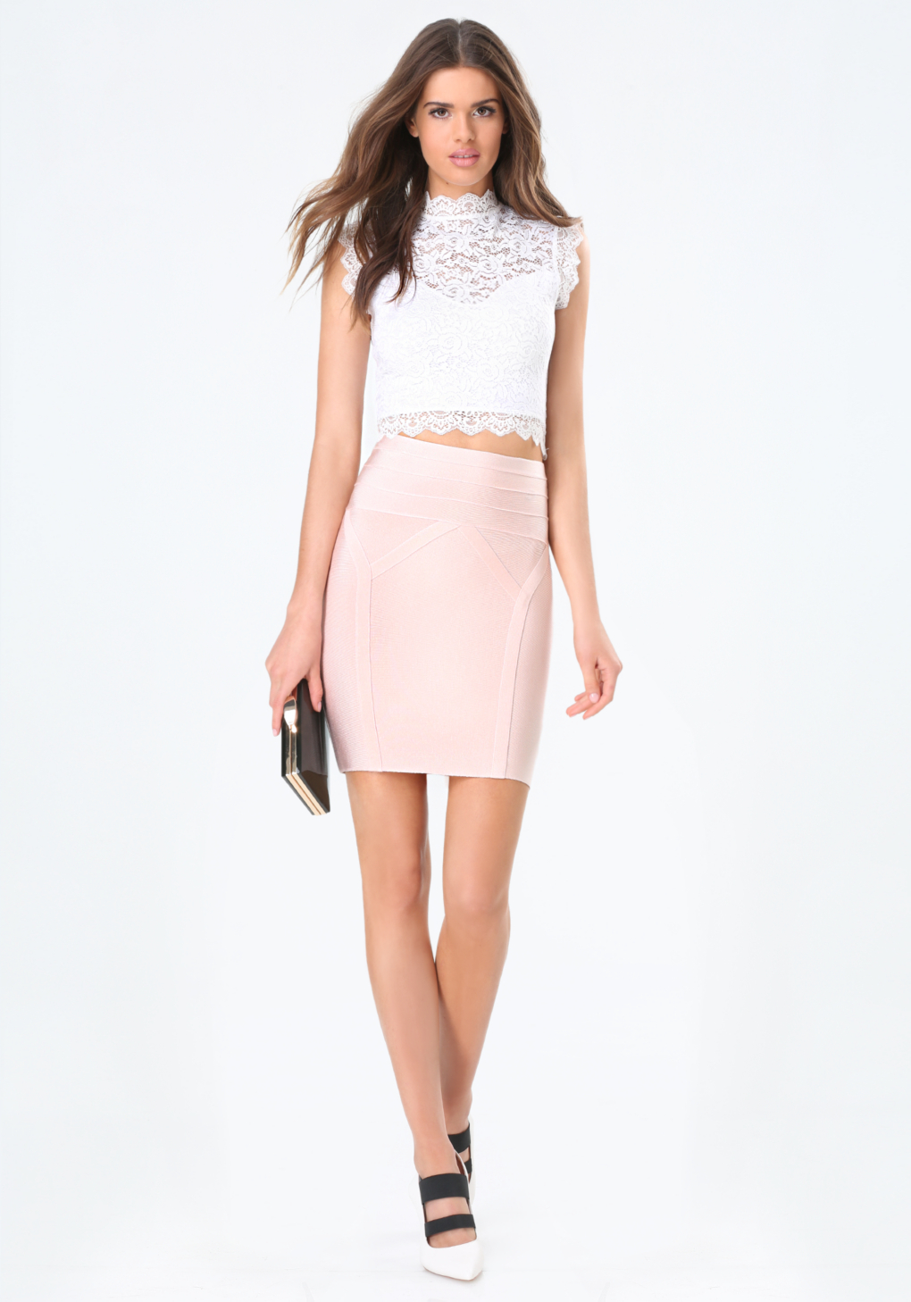 Bebe High Waist Bodycon Skirt in Pink | Lyst
