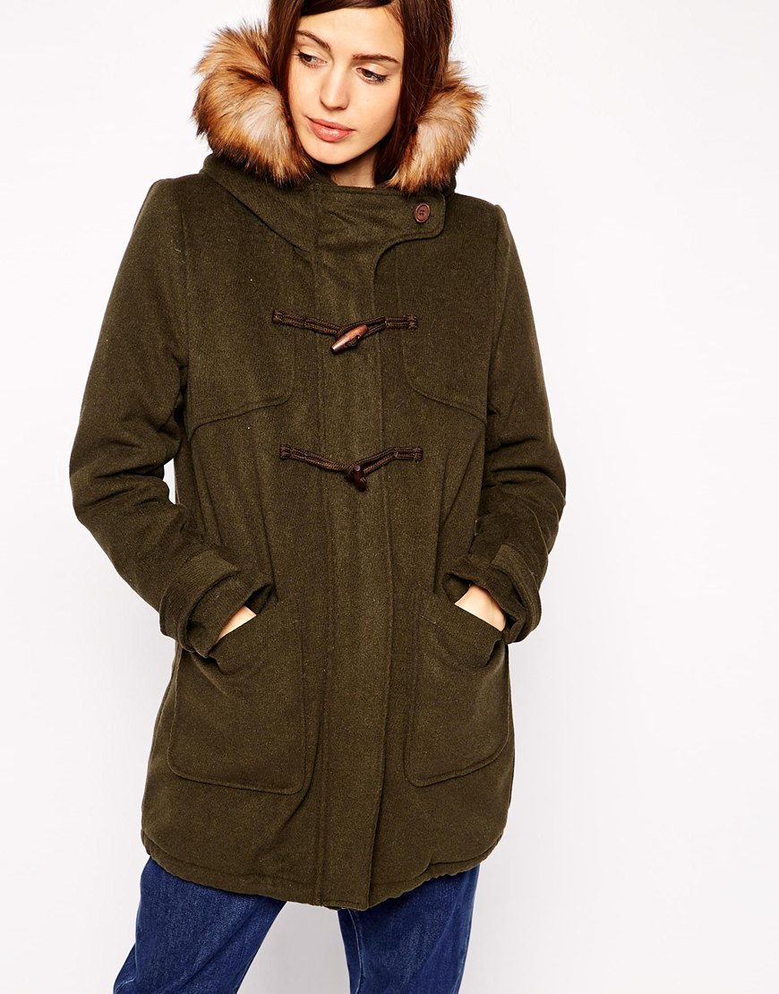 Asos Duffle Parka In Wool in Natural | Lyst