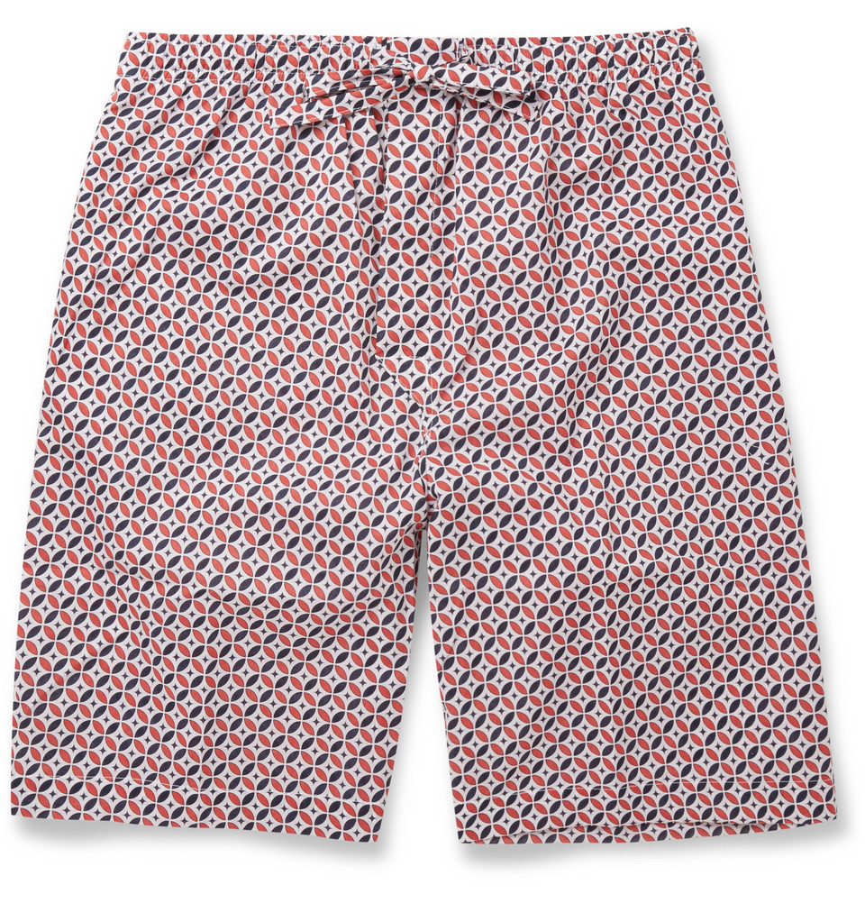 Lyst Derek Rose Nelson Printed Pyjama Shorts In Red For Men