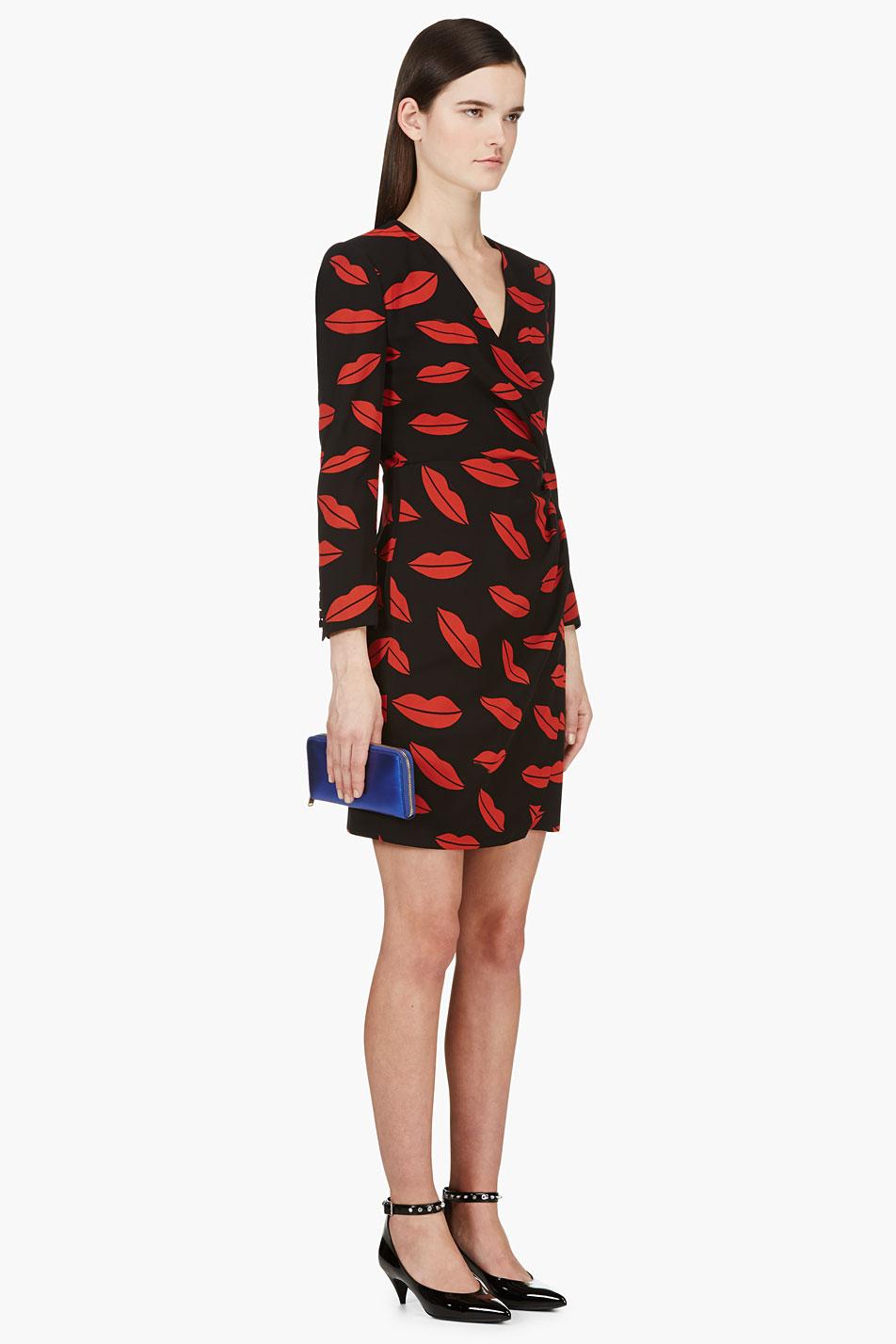 Saint Laurent Black Silk Chiffon Lips Wrap Dress In Red Lyst