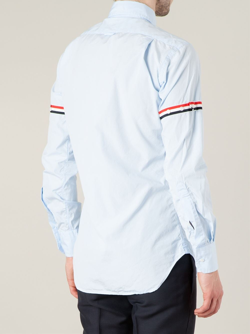 Thom browne stripe sleeve shirt in blue for men lyst for Thom browne t shirt