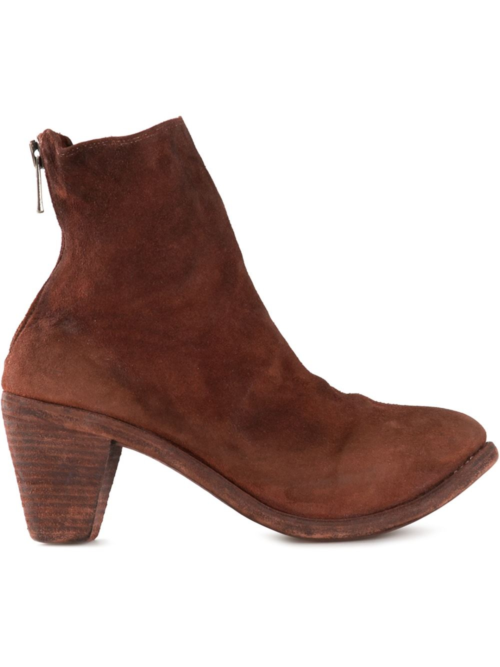 guidi chunky heel ankle boot in brown lyst
