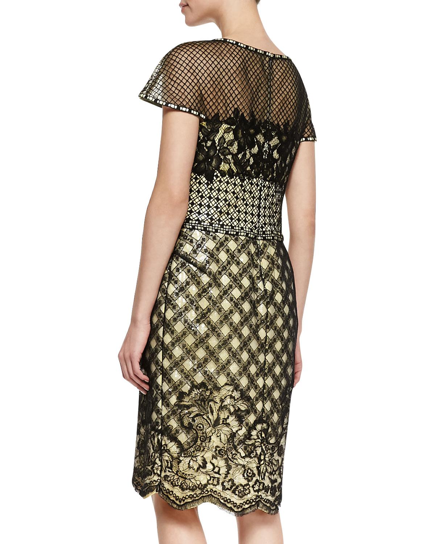 Tadashi Shoji Short Sleeve Mixed Media Lace Cocktail Dress