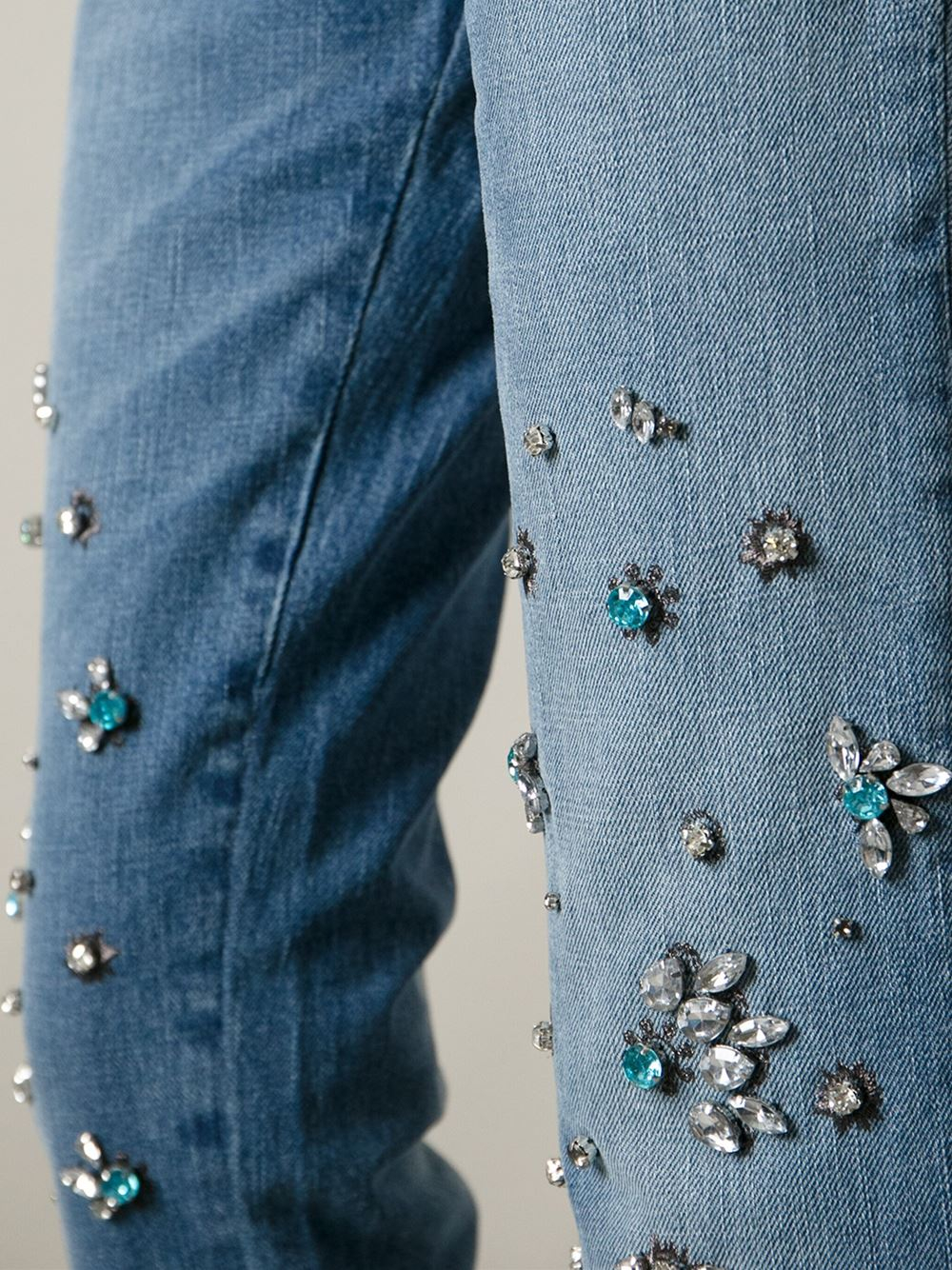 Pinko Crystal Embellished Jeans In Blue Lyst