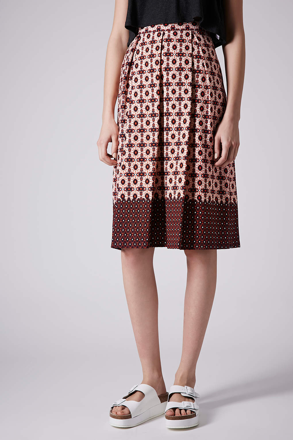 topshop tile border midi skirt in lyst