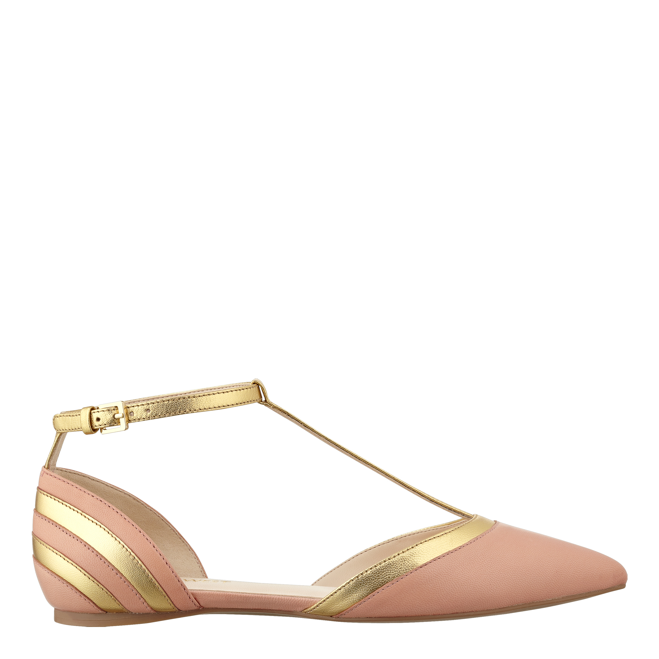 226452c8853e Lyst - Nine West Aubree Flat with Ankle Strap in Orange