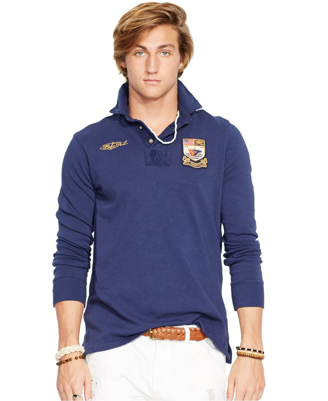 Polo Ralph Lauren Yacht Club Jersey Rugby Shirt In Blue