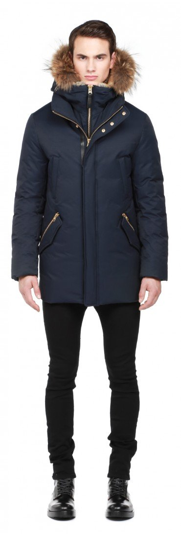 Mackage Edward F5 Navy Luxe Down Parka With Fur Hood In