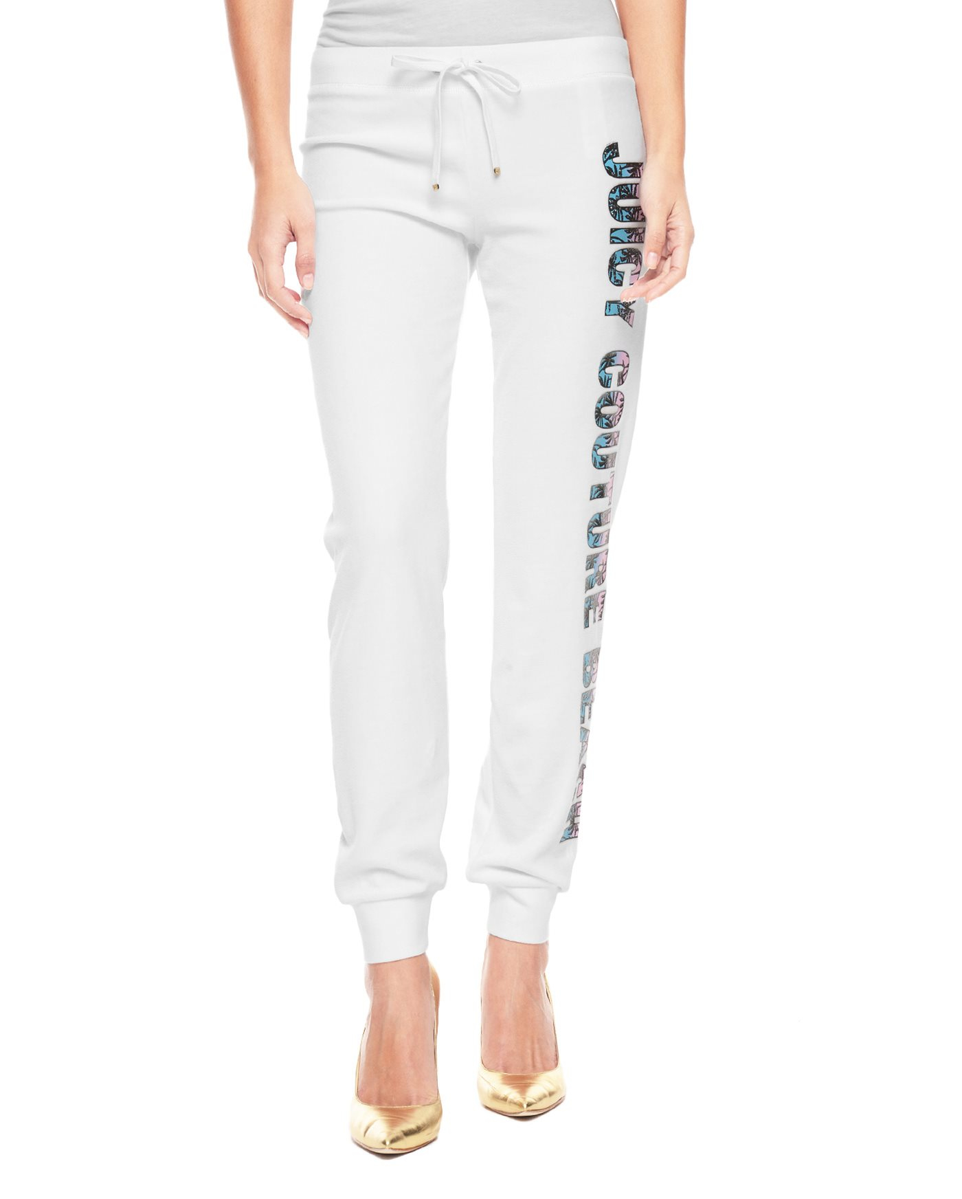Juicy couture Logo Velour Beach Slim Pant in White | Lyst