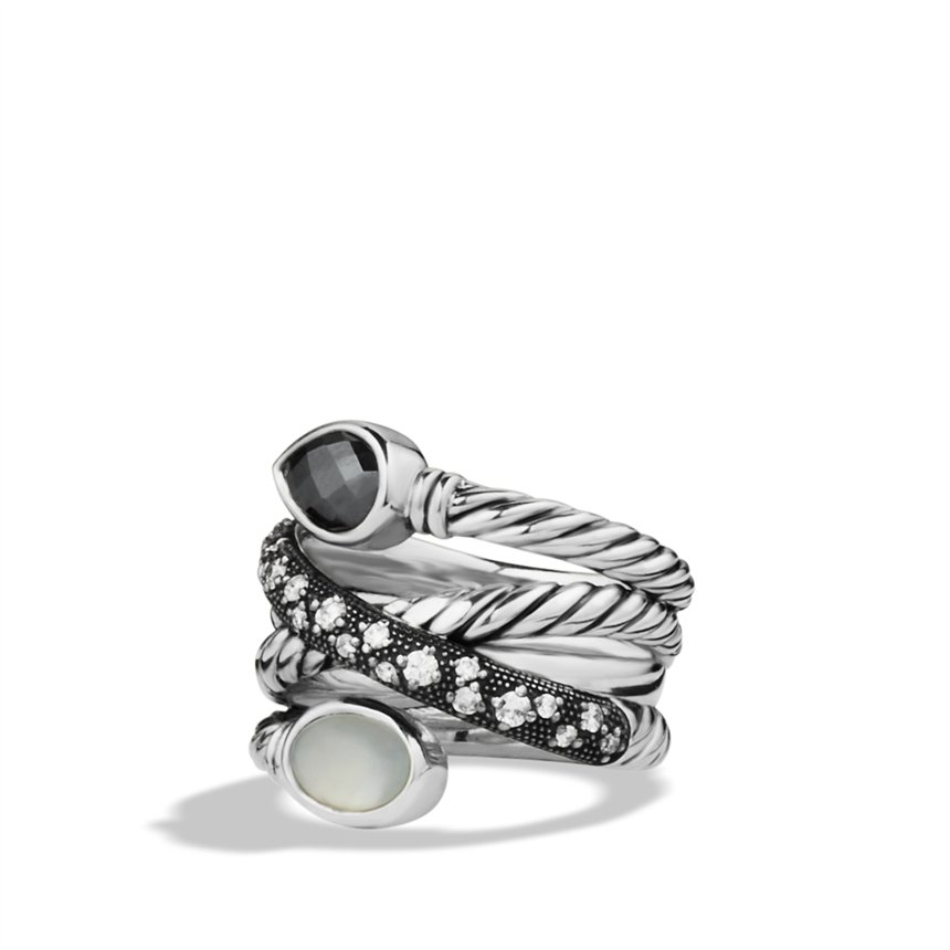 Lyst david yurman grisaille crossover ring with hematine for David yurman inspired jewelry rings