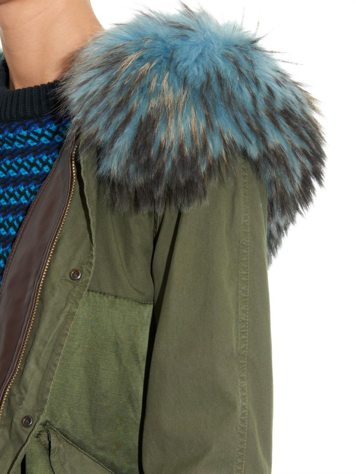 Mr & mrs italy Fur-Trimmed Satin And Canvas Long Parka in Green | Lyst