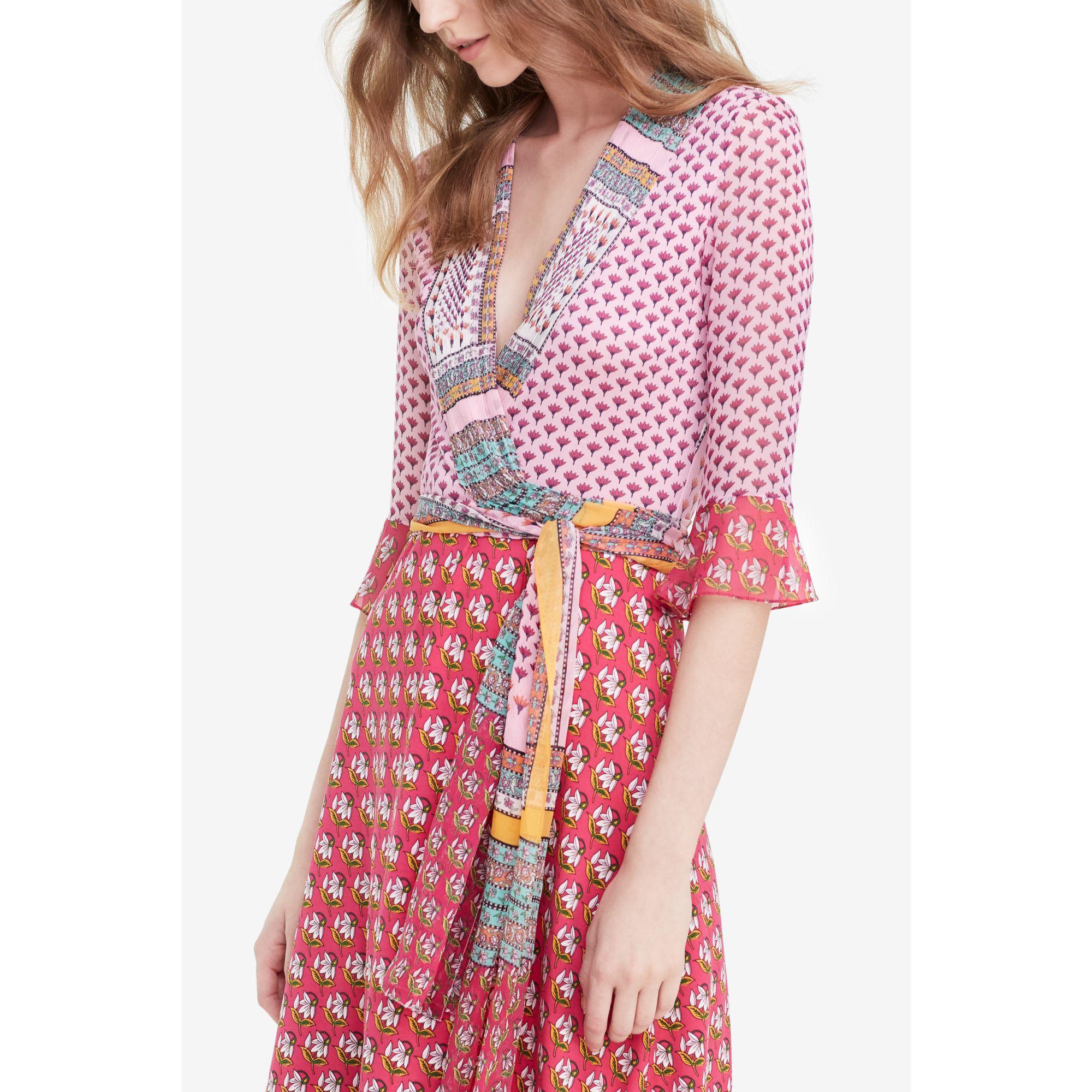 Diane Von Furstenberg Multi Print Wrap Dress In Pink Lyst
