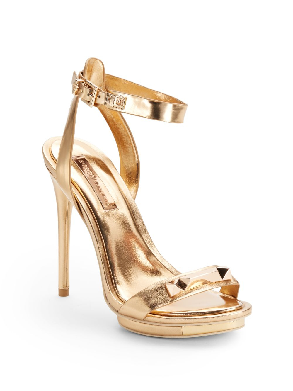 Bcbgmaxazria Freesia Metallic Leather High Heel Sandals in