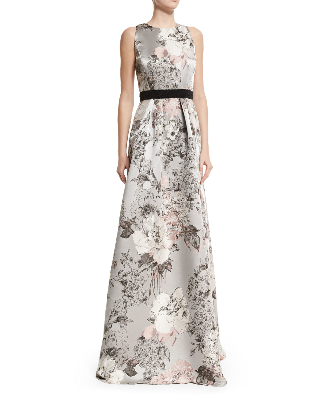 Lyst - Carmen Marc Valvo Sleeveless Floral-print Gown