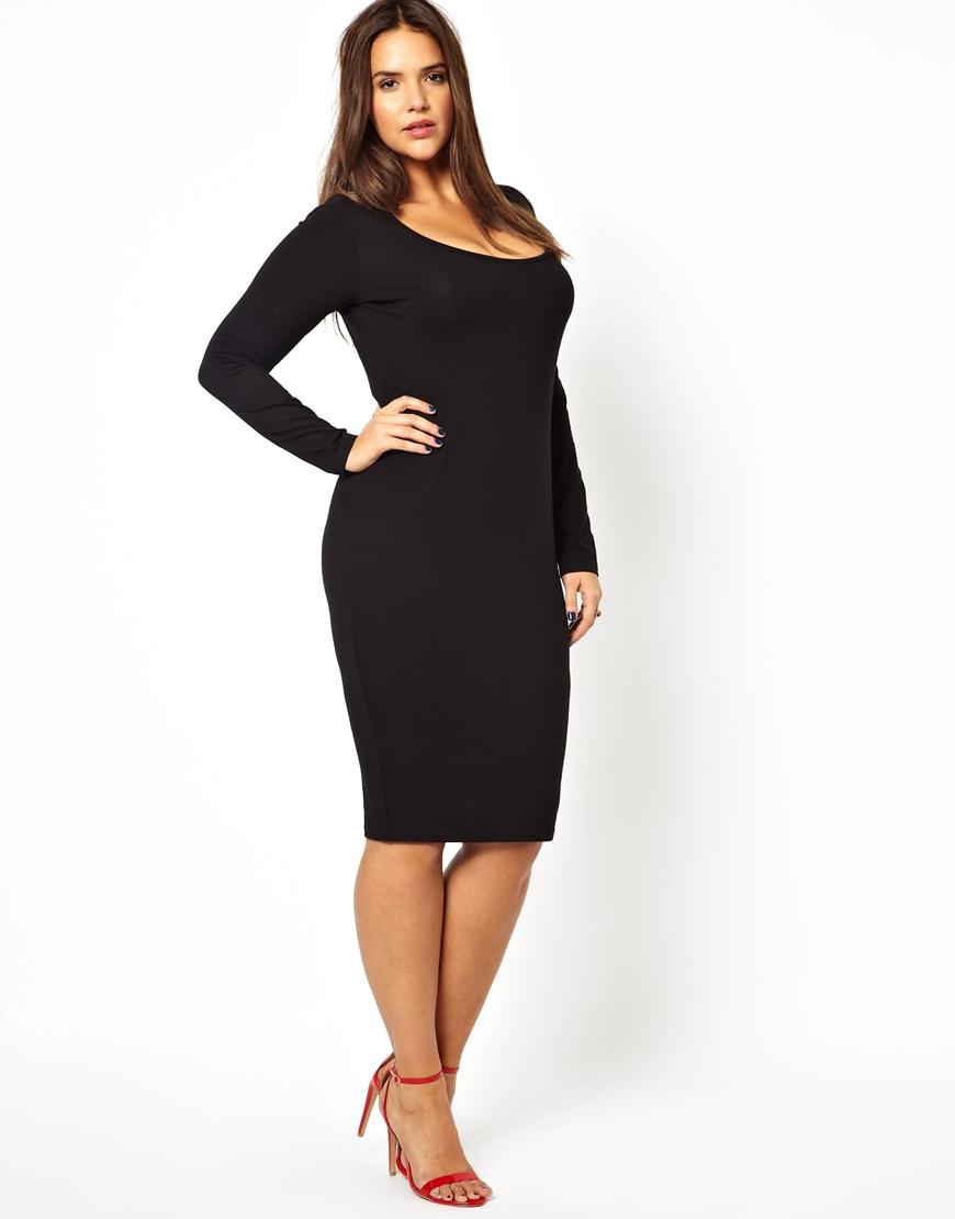 Lyst Asos Midi Bodycon Dress With Long Sleeve In Black