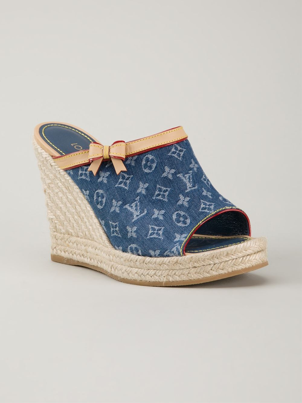 6e4008088137 Lyst - Louis Vuitton Monogram Denim Mules in Blue