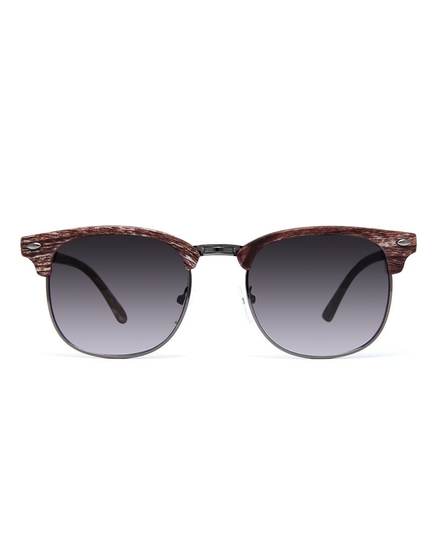 6a5ea112d6 ASOS Clubmaster Sunglasses with Wood Finish in Brown for Men - Lyst