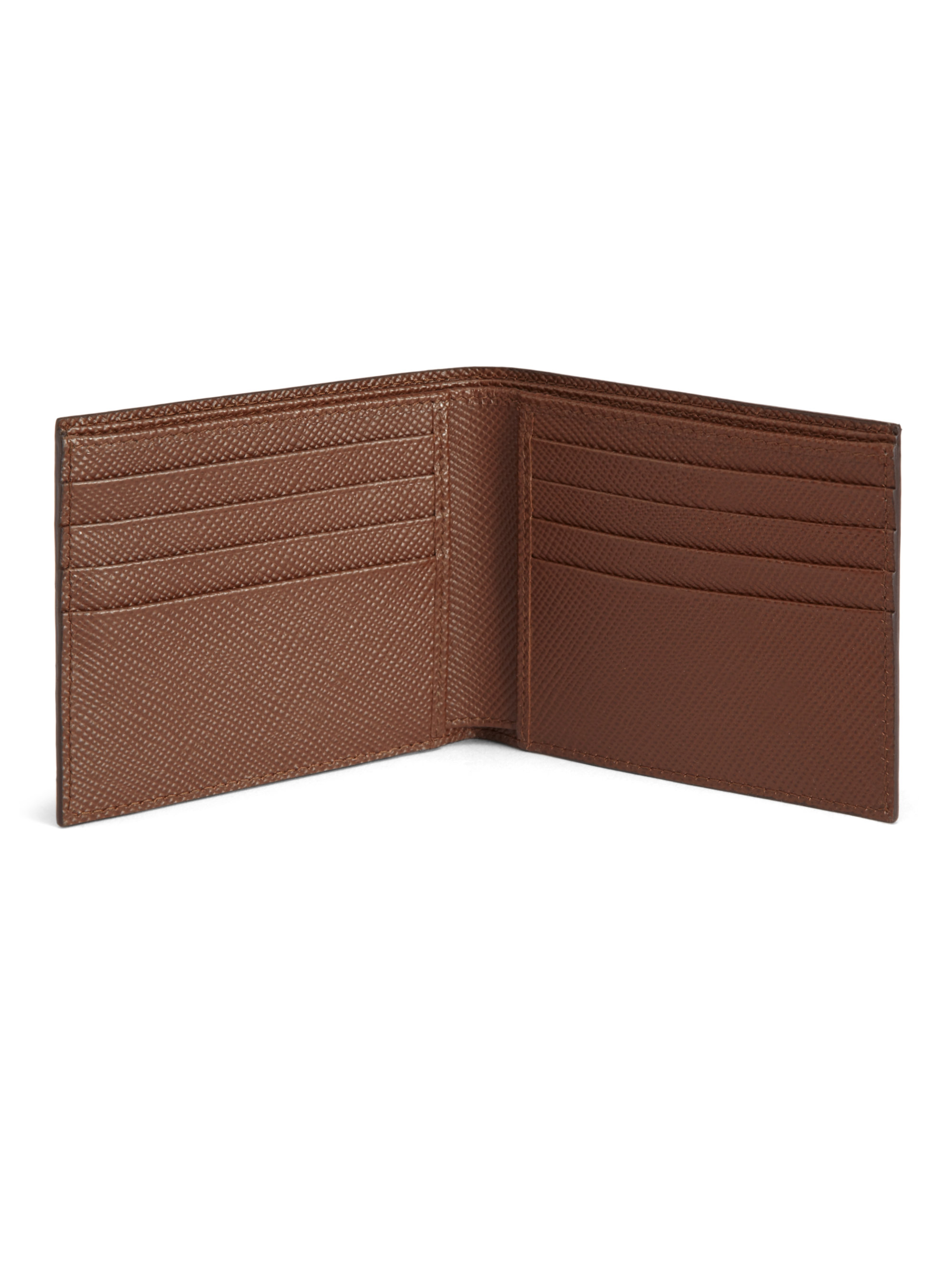 0c88a6053861 top quality lyst prada saffiano cuir striped bifold wallet in brown for men  4934a 70410