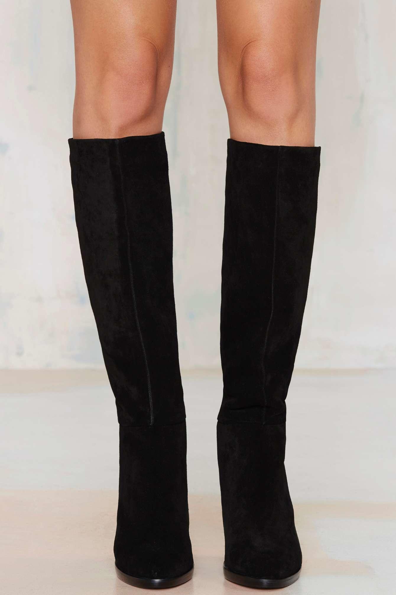 Nasty gal Report Lannister Knee-high Suede Boot - Black in Black ...