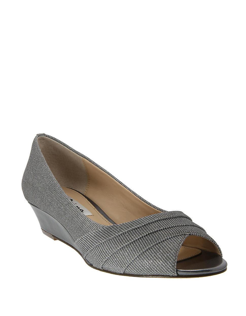 Nina Rowan Metallic Wedge Heels In Silver Gunmetal Grey