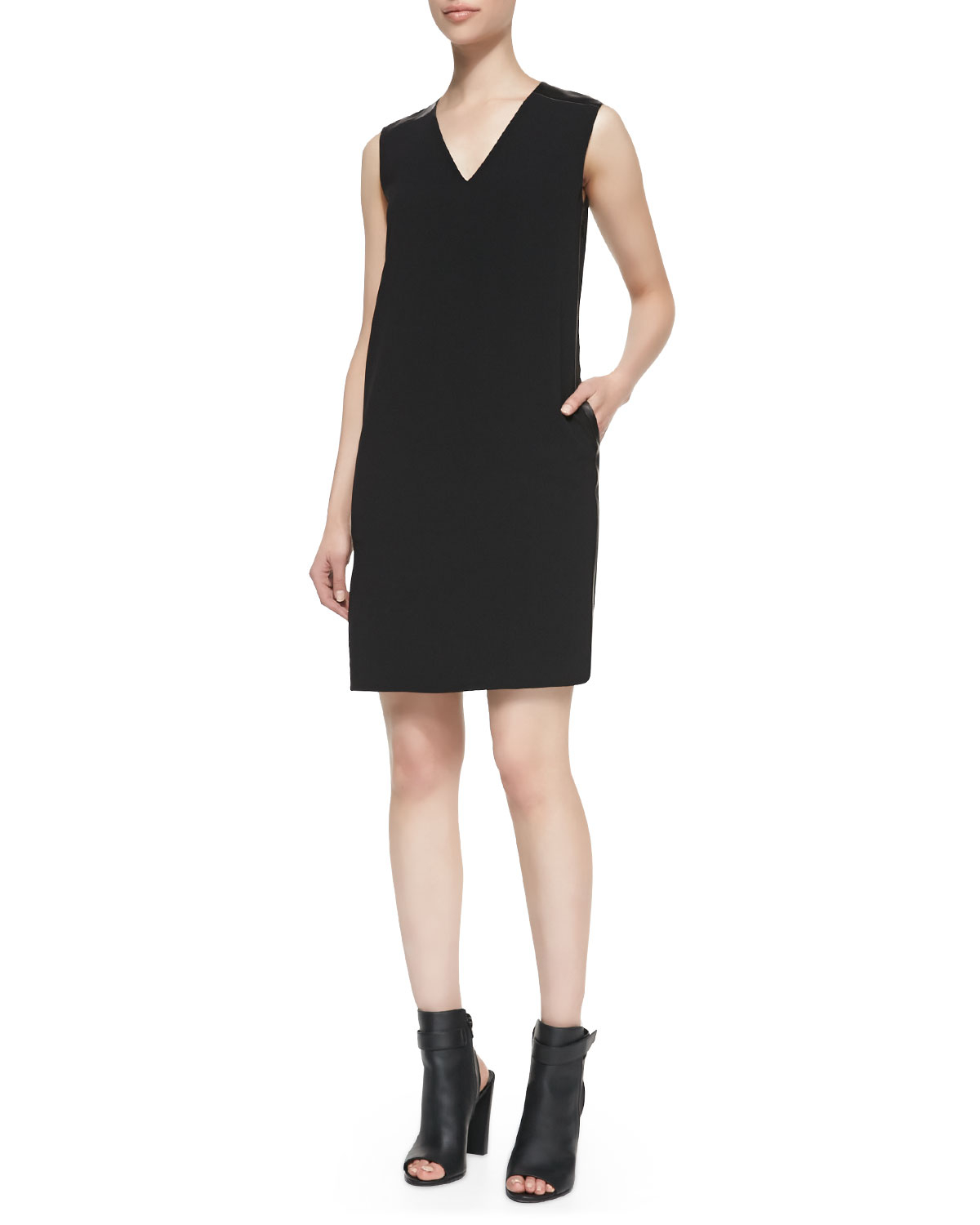 f0eb7a0c279 Vince Leather-Trim V-Neck Shift Dress in Black - Lyst