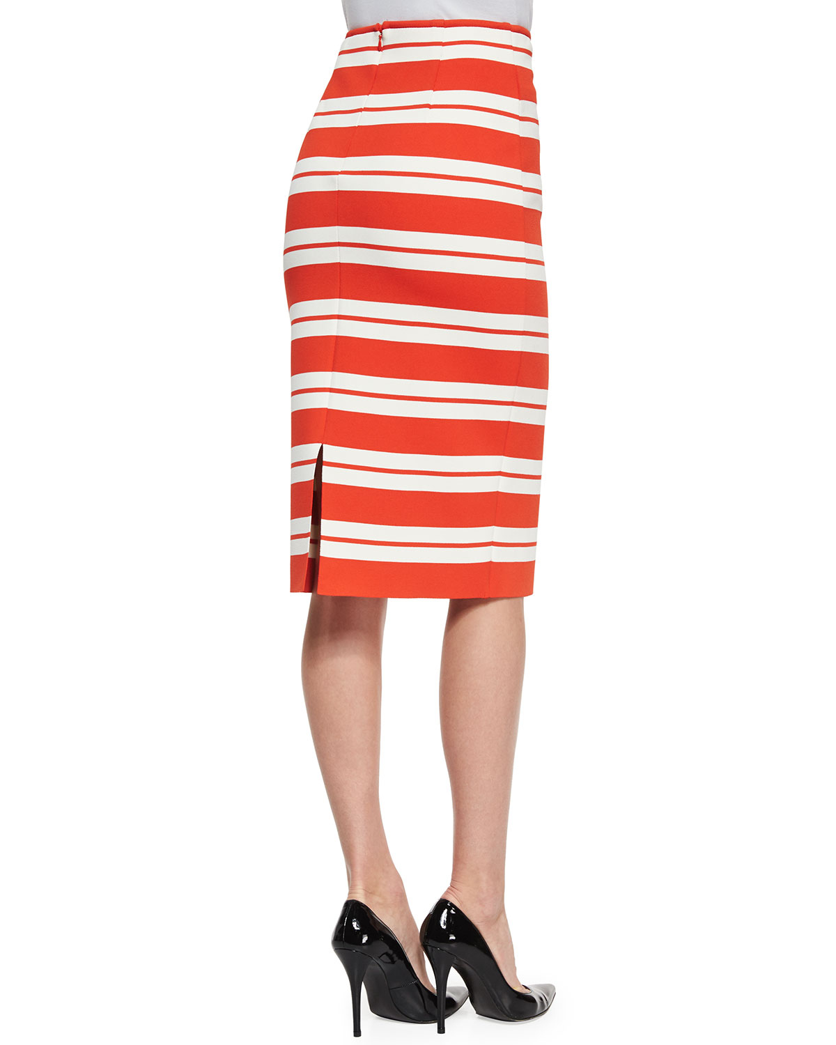 St. john Luxe Striped Knit Pencil Skirt in Natural | Lyst