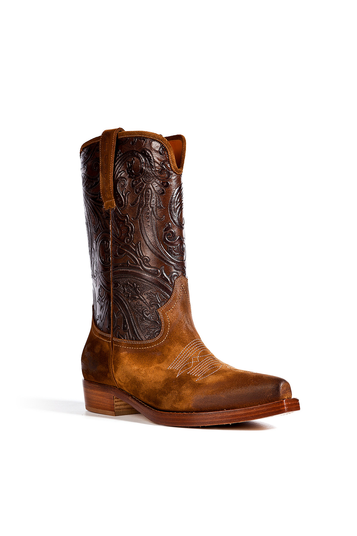 etro leather cowboy boots in brown for lyst