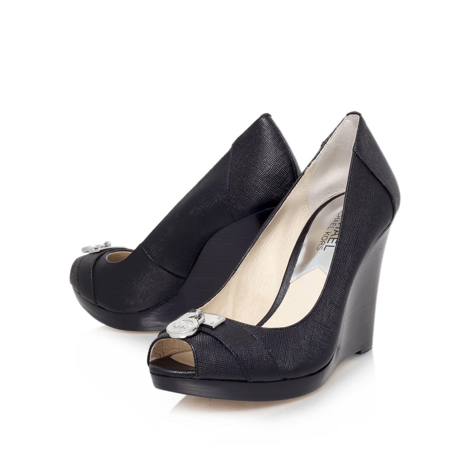michael kors hamilton wedge peep toe court shoes in black
