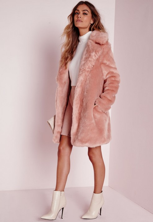 Missguided Longline Faux Fur Coat Pink in Pink | Lyst